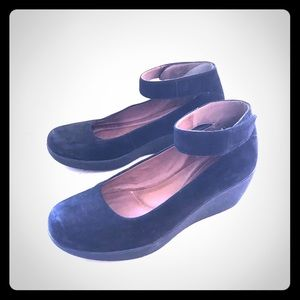 Black suede wedges by Clark's